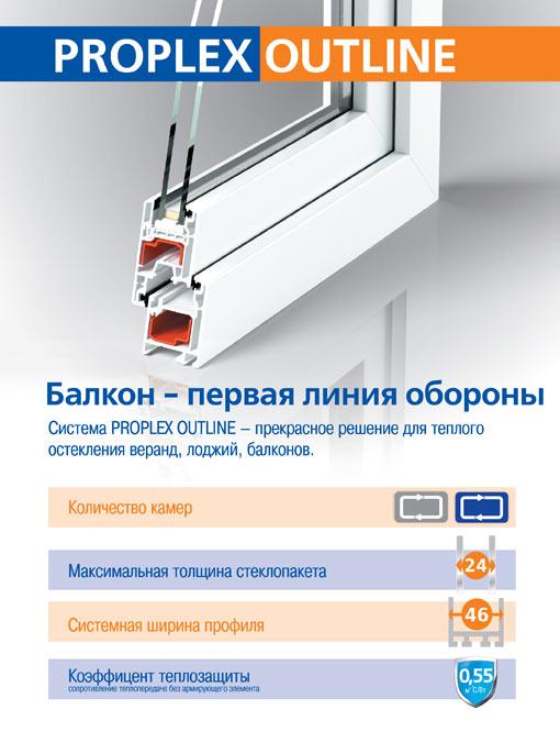 Система профилей пвх PROPLEX OUTLINE для пластиковых окон